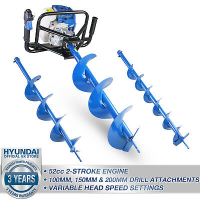 Hyundai Petrol Earth Auger Ground Drill Fence Post Hole Borer + 3 Bits HYEA5080