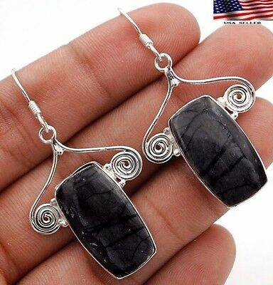 "9g Picasso Jasper 925 Solid Sterling Silver Earrings Jewelry 2"" Long, A8-2"