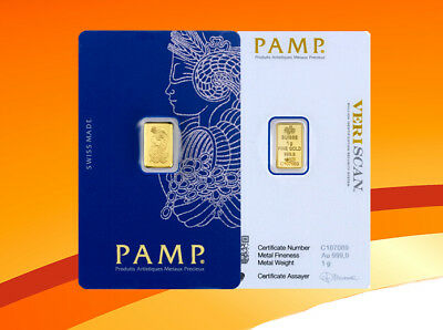 PAMP Suisse Fortuna 1 Gram .9999 Fine Gold Bar Sealed In Assay