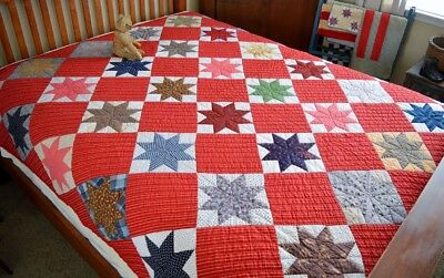 Antique Hand Stitched Calico Pieced Star Quilt