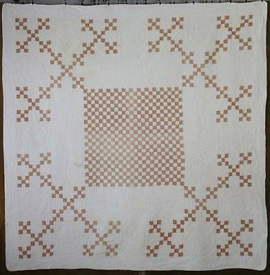 Incredible Quiltiing! Antique c1860 Tan & White Postage Stamp QUILT Medallion Sq