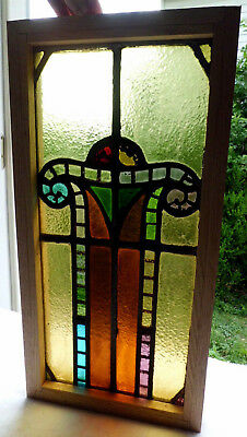 Antique Vtg Church Stained Glass Window Architectural Salvage Art Deco Arch W102