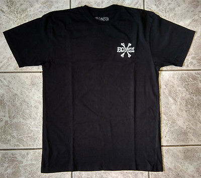 "ORIGINAL POWELL-PERALTA SKATEBOARD TEE T-SHIRT ""BONES"" BLACK size L LARGE TOP!"