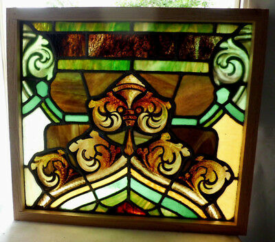 Antique Vtg Church Stained Glass Window Architectural Salvage Gothic Point W105