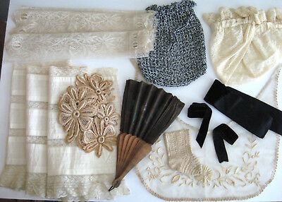 Lot of Early Victorian Clothing Accessories - Purse Hand Fan Sleep Cap Trim Lace