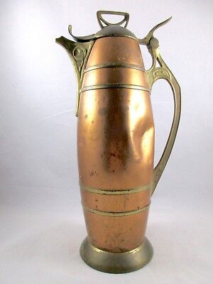 Antique COPPER AND BRASS Art Nouveau Middle Eastern Pitcher Stein Coffee Pot
