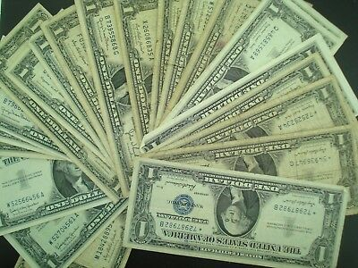 Lot of (25) $1 Silver Certificates Currency w/ Star * Notes  **NO RESERVE**