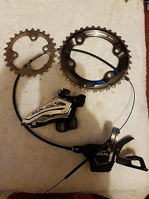 Shimano slx 2 x chainrings, shifter and Front Mech.