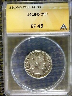 """Barber 1916-D Silver 25 cents """"ANACS  EF 45"""""""