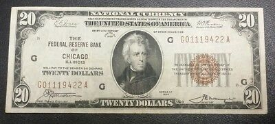 1929 $20 National Currency Federal Reserve Bank Chicago IL Brown Seal Fine