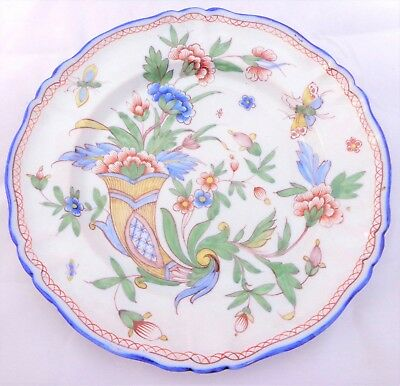 Antique French Faience Plate Hand Painted Cornucopia Horn Plenty Mark MG 19th C