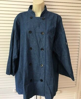 CHEF JACKET UNCOMMON THREADS chambray blue denim unisex mens womens Large
