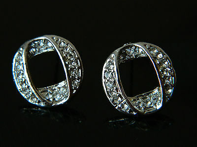 Oval Letter O Curly Silver Plated Women Small Ear Decoration Stud Earrings E255