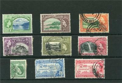 Trinidad & Tobago. 9 -- Early Qe2 Used Stamps On Stockcard