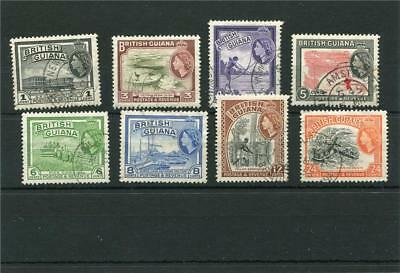 British Guiana.8 -- Used Early Qe2 Stamps On Stockcard