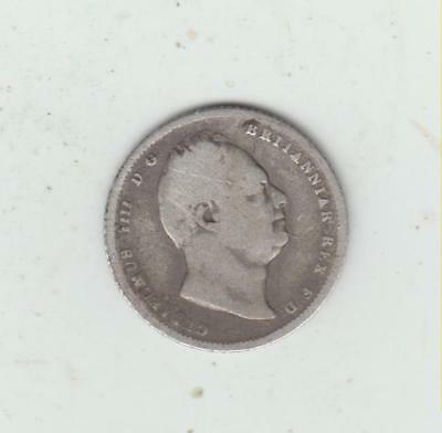 1834 William IV Silver (.925) Sixpence, Near Fine/Poor+, Light Scratches