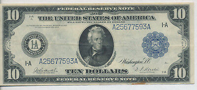 1914 Large Size $10 Federal Reserve Note **about Uncirculated** Free Shipping!