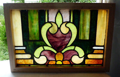 Antique Vtg Church Stained Glass Window Architectural Salvage Two Columns W112