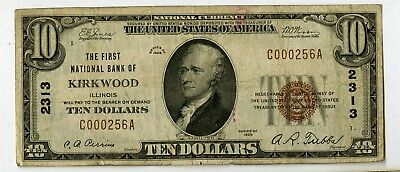 1929 $10 First Ntl Bank Kirkwood Illinois National Banknote C000256A