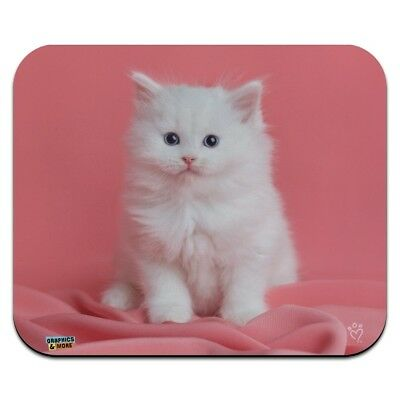 Persian Cat White Kitten on Fuchsia Low Profile Thin Mouse Pad Mousepad