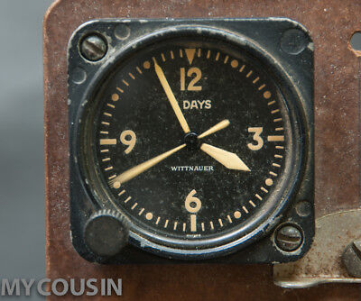World War 2, WITTNAUER  LONGINES, 8 Day Military Aircraft, Race Car Clock, N.R.