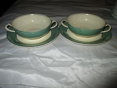 Two J&G Meakin Sol Ware 391413 Florida Green Soup Coupe Bowls Saucers