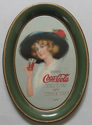1913  Coca Cola Advertising Tip Tray Pretty Girl Near Mint