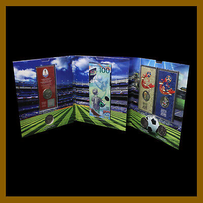 Russia 100 Rubles + 6 Full Coin Set, 2018 FIFA World Cup Soccer Football Color