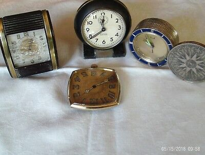 job lot of 4 vintage travel clocks all working