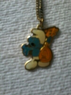 Vintage Smurf playing guitar 18in necklace