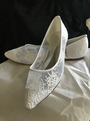 White Bridal Wedding Lace Mesh Embroidered Sheer Low Pointed Toe Shoe Flats 10