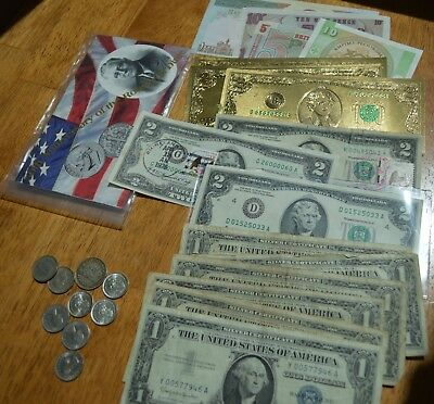 6 Silver Certs, 3 UNC Gold Foil $2.00 USA notes, 2 UNC stamped $2.00 1st day etc