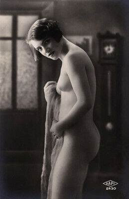 Nude French RPPC Real Photo Postcard Flirty Jazz-Age Flapper in a Private Moment