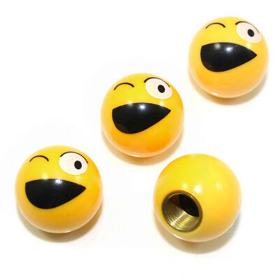 4 Custom Yellow Wink Smiley Face Air Wheel Tire Valve Caps for Auto-Car-Truck