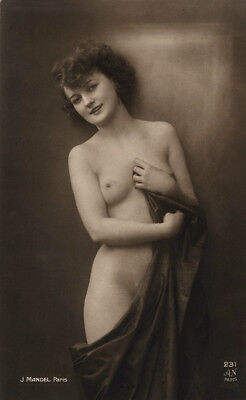 Nude French RPPC Real Photo Postcard Beguiling Partially Draped Coy Model Noyer
