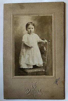 Cabinet Card Photo Baby Girl Standing on Chair Stroudsburg PA Vintage Antique