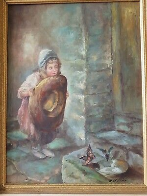 Signed W.vd Vlies Early 20th c. Dutch School Girl and Birds Oil on canvas Framed