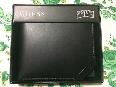 Premium Guess Mens Id BillFold Passcase Wallet Black Red Authentic Leather