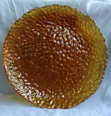 PartyLite Siena Lights  Amber Glass Dinner Plate  -and 2 bowls NIB/Retired