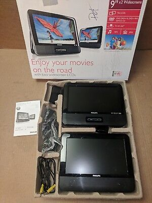 """Dual Screen PHILIPS PD9012 Portable DVD Player, 2 9"""" LCD Wide Screens Lot Car TV"""
