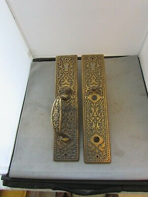 "VTG Antique Door Handles Hardware Push Pull 12"" x 2.75"" Victorian Eastlake 3126"