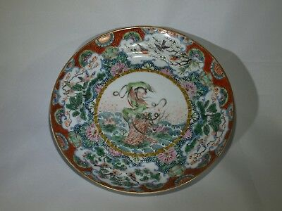 Antique Chinese famille verte porcelain plate guanyin