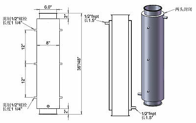 """HFS 6"""" Jacketed Spool x 36"""" Length - 1/2"""" FNPT Ports"""