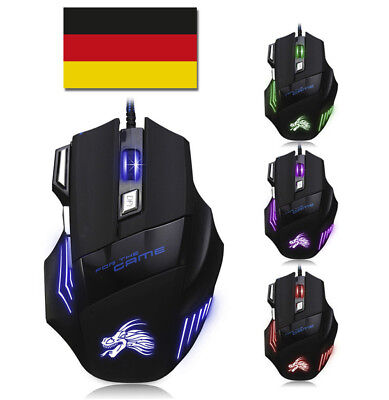 GAMING Maus PC Computer mit LED Laptop Notebook Mäuse GAMER Mouse 7 Tasten USB
