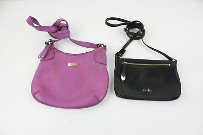 Lot Of 2 Cole Haan Fuchsia Black Pebbled Reptile Embossed Leather Crossbody Bags