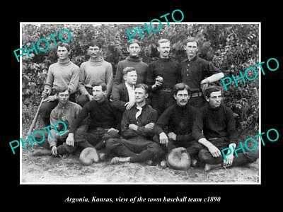 OLD LARGE HISTORIC PHOTO OF ARGONIA KANSAS, THE TOWN BASEBALL TEAM c1890