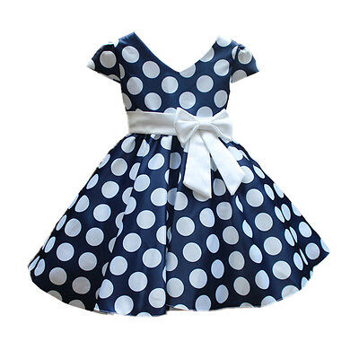 Little Girls Princess Dress Casual Puff Vintage Polka Dot Bow Navy Dress Size 2