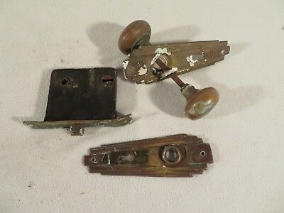 Vintage Complete Set Brass Door Knob, Back Plates, Mortise & Lock Set ~ Art Deco