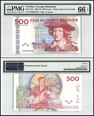 Sweden 500 Kronor, 2007, P-66c, King Carl XI, Christopher Polhem, PMG 66