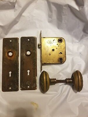 Antique Brass Door Knobs Back Plates Victorian Hardware